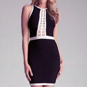 BEBE Black And White Cage Bandage Dress L RARE